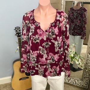 INC Floral Blouse w/Sheer Sleeves + Elastic Waist